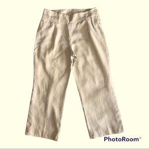 Jones New York Cream Linen Wide Leg Pants 10P